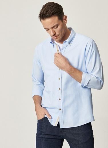 AC&Co / Altınyıldız Classics Tailored Slim Fit Dar Kesim Düğmeli Yaka Oxford Gömlek 4A2021100101 Mavi